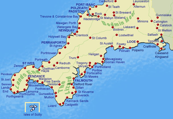 Map Of England Showing Cornwall.Cornwall Online S Guide To Towns And Villages